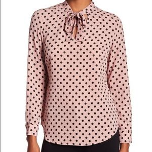 Adrianna Papell Pink Long Sleeve Tie Neck Blouse